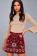 Mountain High Burgundy Embroidered Corduroy Mini Skirt 2