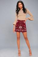Mountain High Burgundy Embroidered Corduroy Mini Skirt 1