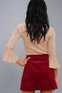 Mountain High Burgundy Embroidered Corduroy Mini Skirt 4