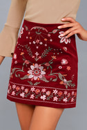 Mountain High Burgundy Embroidered Corduroy Mini Skirt 3