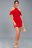 Your Time Red Off-the-Shoulder Bodycon Dress 2