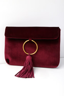 Carrington Burgundy Velvet and Suede Leather Clutch 1