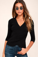 Just My Type Black Long Sleeve Wrap Top 2