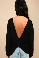 Wrapped in Warmth Black Knot Back Sweater 4