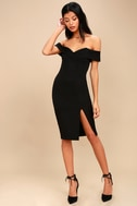 New Sensation Black Off-the-Shoulder Bodycon Dress 2