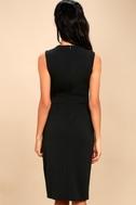 Office Aesthetic Black Midi Wrap Dress 4