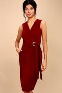 Office Aesthetic Wine Red Midi Wrap Dress 1