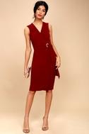 Office Aesthetic Wine Red Midi Wrap Dress 4