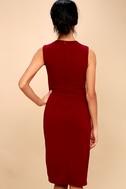 Office Aesthetic Wine Red Midi Wrap Dress 2