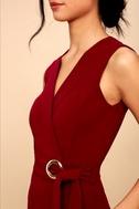 Office Aesthetic Wine Red Midi Wrap Dress 3