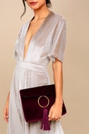 Carrington Burgundy Velvet and Suede Leather Clutch 3