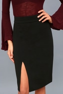 Perfectly Put Together Black Midi Pencil Skirt 4