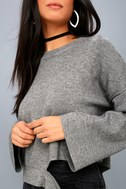 Choreography Heather Grey Cutout Cropped Sweater 4