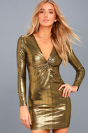 Night Shine Gold Long Sleeve Knotted Bodycon Dress 2
