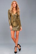 Night Shine Gold Long Sleeve Knotted Bodycon Dress 1