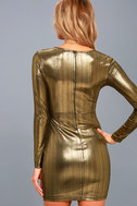 Night Shine Gold Long Sleeve Knotted Bodycon Dress 3