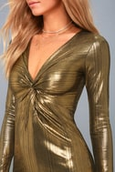 Night Shine Gold Long Sleeve Knotted Bodycon Dress 4