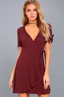 My Philosophy Burgundy Wrap Dress 6