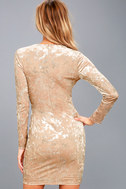 Tinseltown Silver and Beige Velvet Long Sleeve Bodycon Dress 7