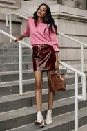 Run This Town Burgundy Patent Mini Skirt 6