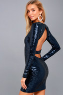 Star Sighting Navy Blue Backless Sequin Bodycon Dress 1