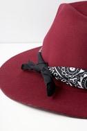 Rebel Rouser Burgundy Fedora Hat 4