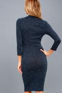 Modern Marl Navy Blue Long Sleeve Midi Dress 4