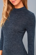 Modern Marl Navy Blue Long Sleeve Midi Dress 5
