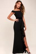 Ballroom Bound Black Off-the-Shoulder Maxi Dress 3