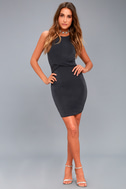 More than a Dream Charcoal Grey Sleeveless Bodycon Dress 5