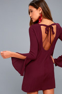 Be the One Plum Purple Long Sleeve Backless Shift Dress 1