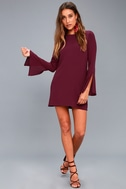 Be the One Plum Purple Long Sleeve Backless Shift Dress 2
