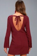 Be the One Plum Purple Long Sleeve Backless Shift Dress 3