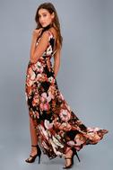 Garden Meandering Black Floral Print Maxi Dress 2