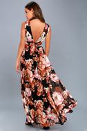 Garden Meandering Black Floral Print Maxi Dress 3
