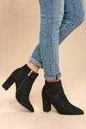 Ottava Black Suede High Heel Booties 1