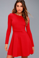 Forever Chic Red Long Sleeve Dress 8