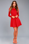 Forever Chic Red Long Sleeve Dress 7