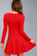 Forever Chic Red Long Sleeve Dress 9