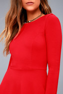 Forever Chic Red Long Sleeve Dress 10