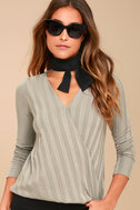 Lacey Taupe Long Sleeve Wrap Top 1