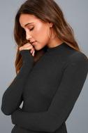 Lena Washed Black Ribbed Mock Neck Long Sleeve Top 4