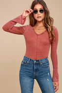 Belmont Washed Washed Red Thermal Long Sleeve Top 1
