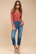 Belmont Washed Washed Red Thermal Long Sleeve Top 2