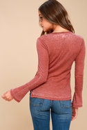 Belmont Washed Washed Red Thermal Long Sleeve Top 3