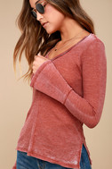 Belmont Washed Washed Red Thermal Long Sleeve Top 4