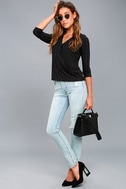 Lacey Black Long Sleeve Wrap Top 2