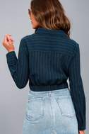 Business Model Navy Blue Striped Button-Up Long Sleeve Crop Top 3