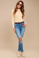 Lena Cream Ribbed Mock Neck Long Sleeve Top 2