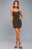 Nimah Olive Green Beaded Backless Dress 2